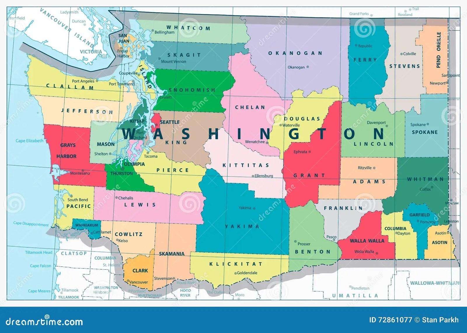 Washington State Map Stock Vector Illustration Of Road