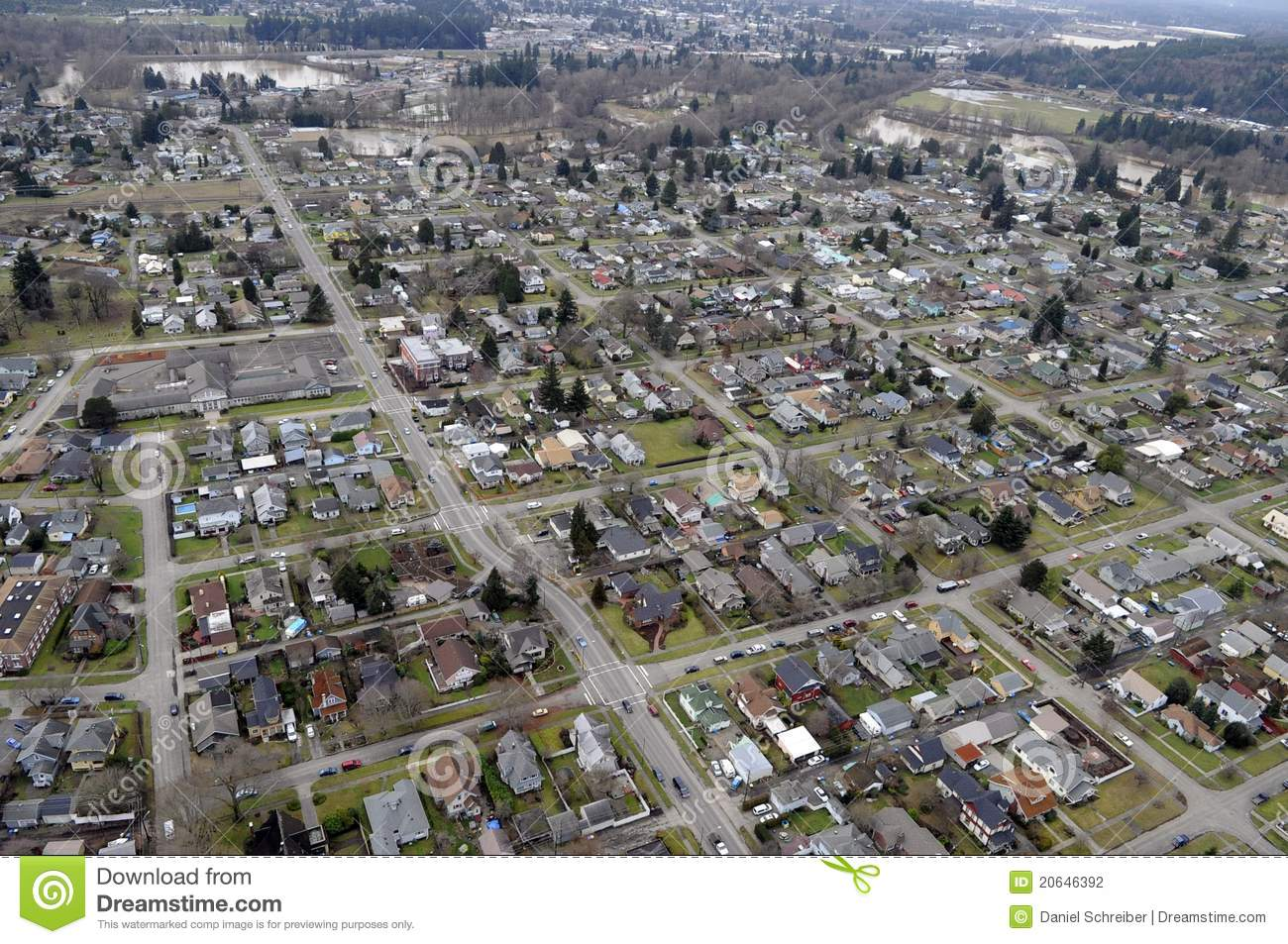 Washington State Town Stock Photo Image Of River State