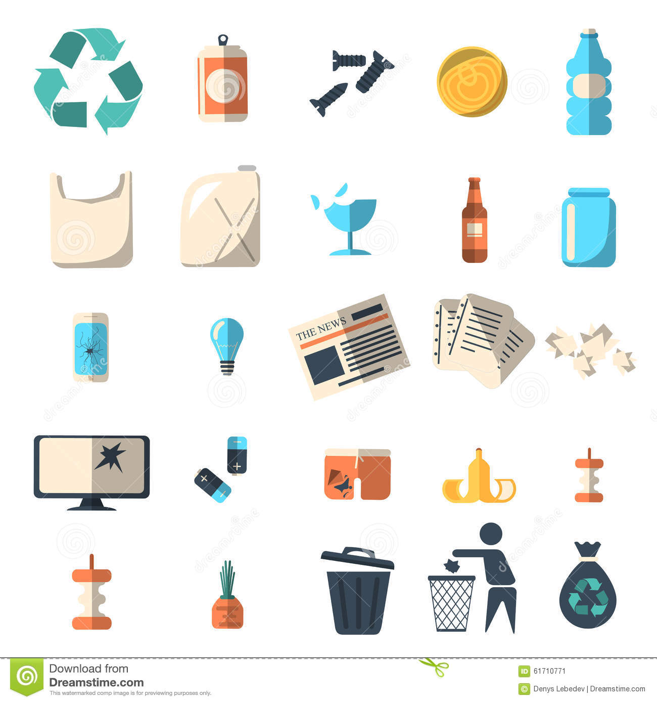 Waste Sorting And Recycling Isolated Symbols Editorial