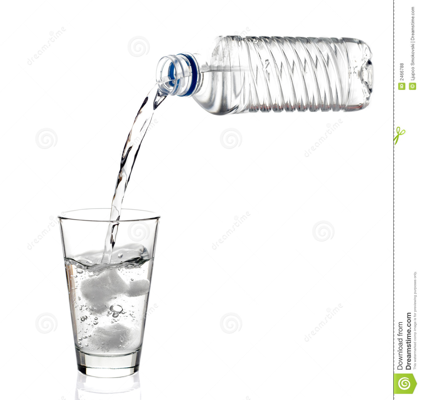 Water Being Poured Into A Glas Stock Photo