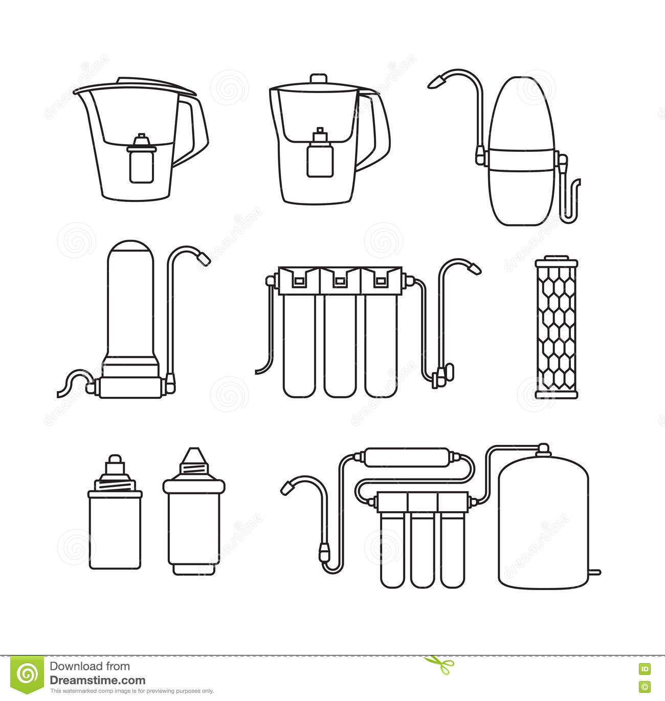 Water Filter Icons Linear Style Stock Vector
