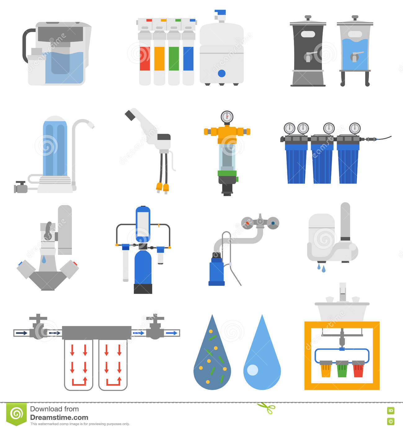 Water Filters Vector Set Stock Vector Illustration Of