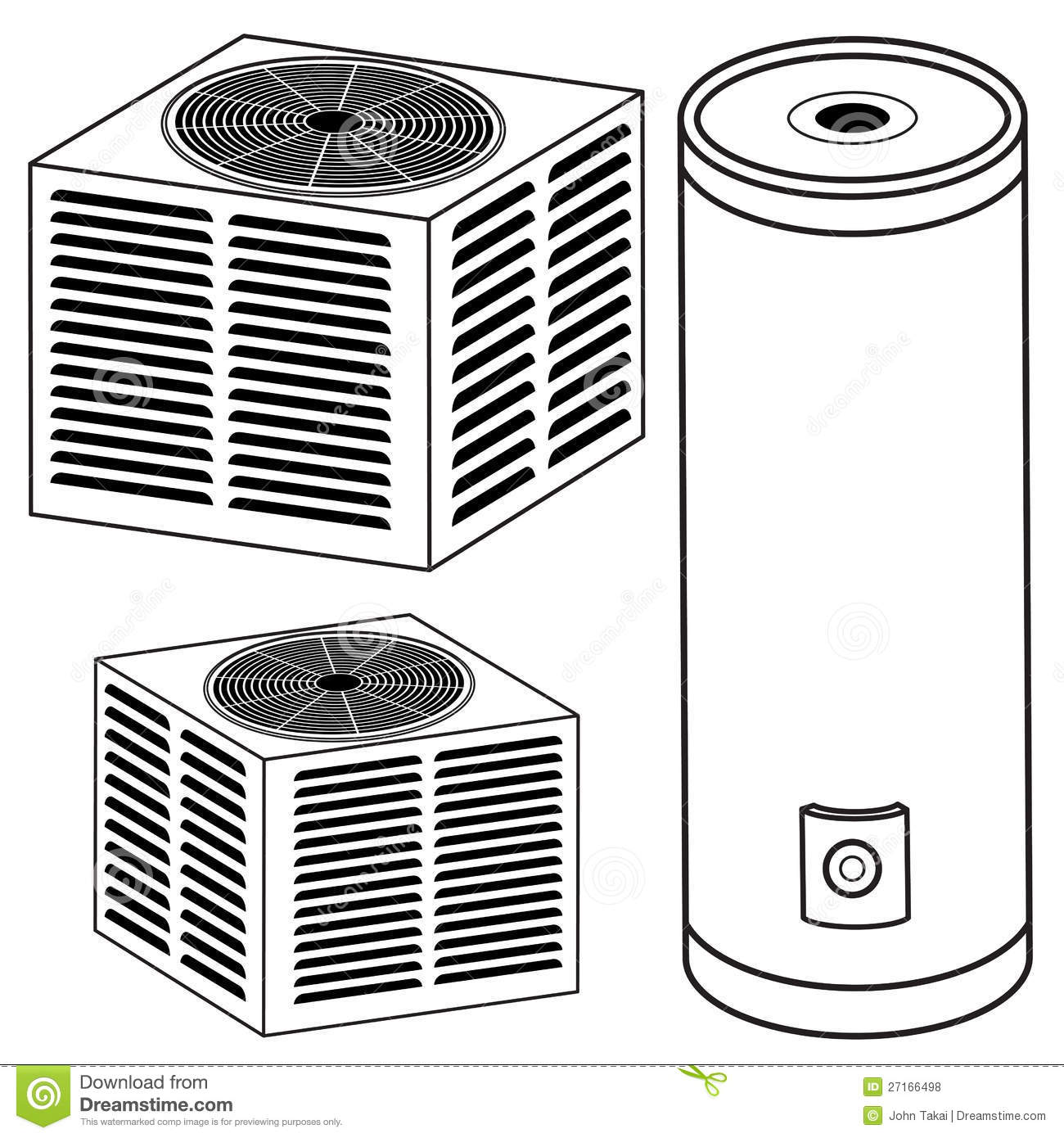 Water Heater And Air Conditioner Stock Vector