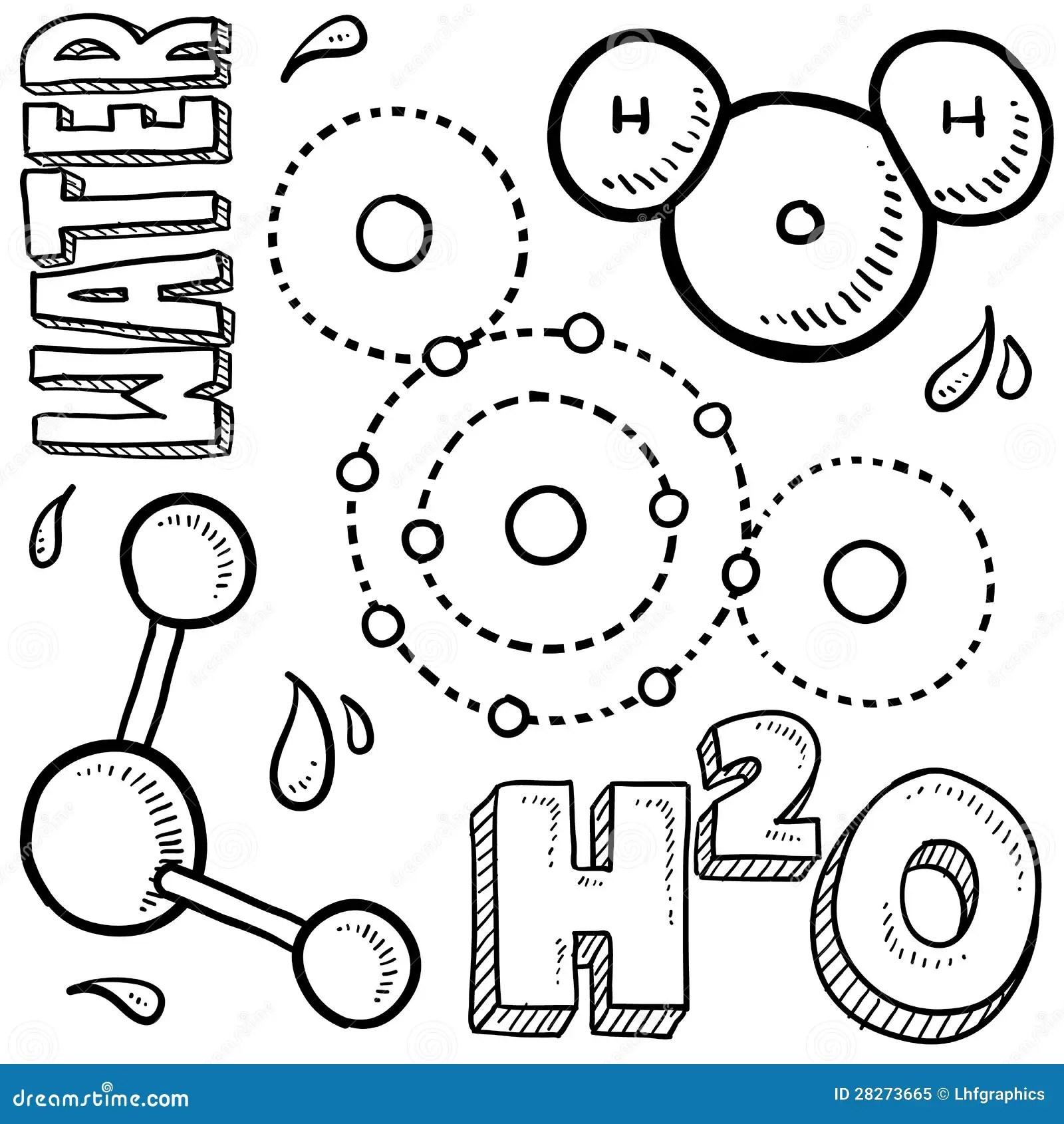 Water Molecule Science Sketch Stock Vector