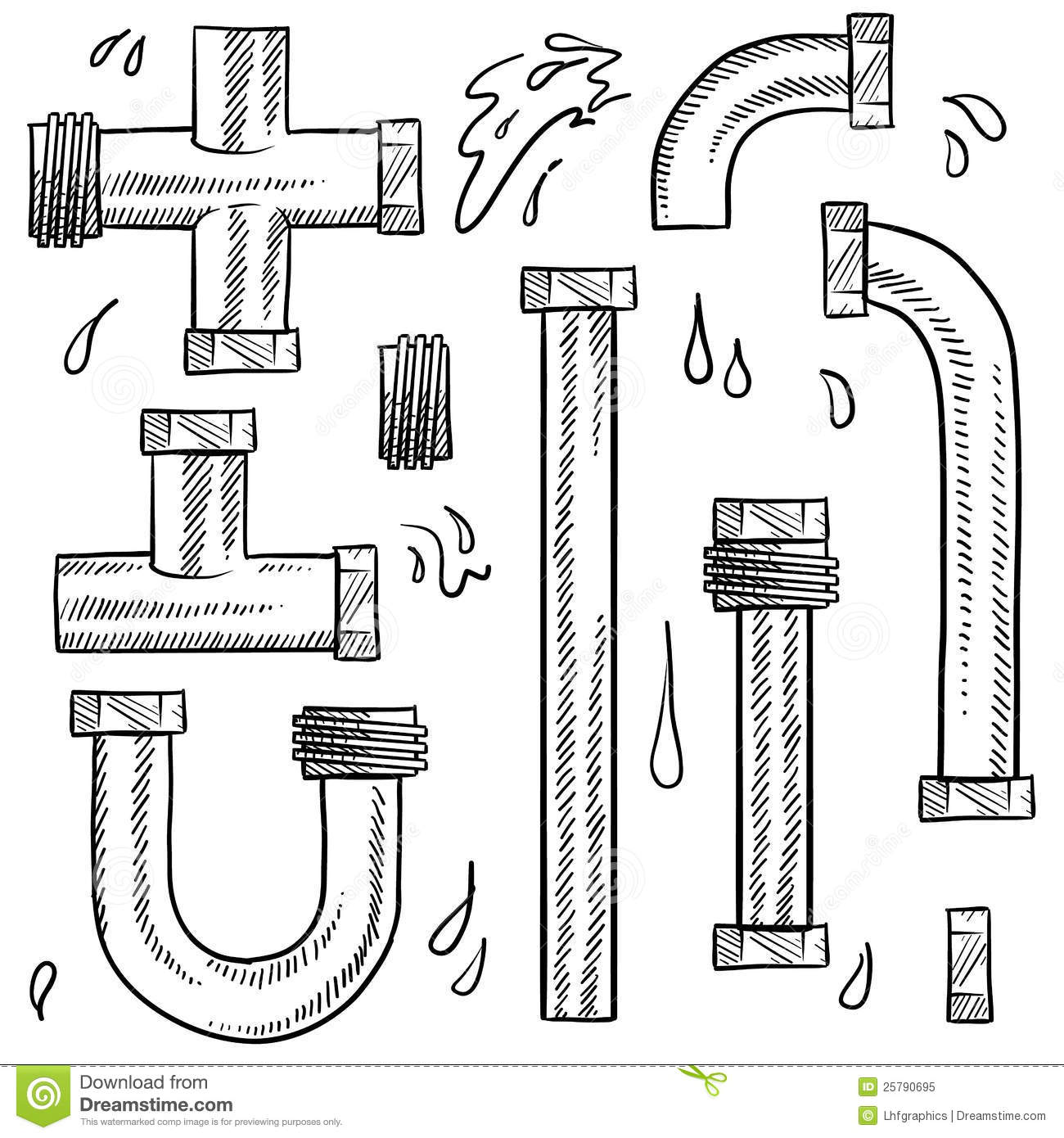 Water Pipes Sketch Royalty Free Stock Photo