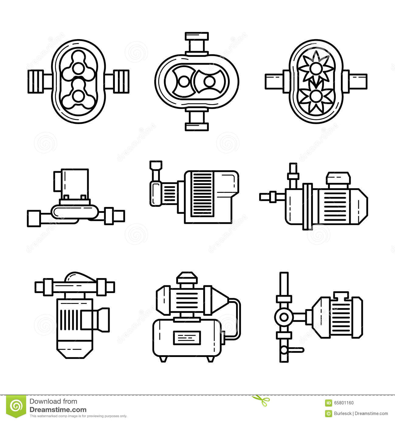 Water Pump Vector Line Icons Sets Stock Vector