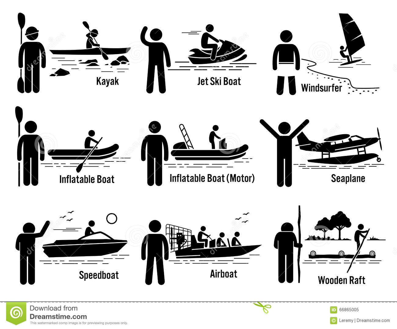 Water Sea Recreational Vehicles And People Set Clipart