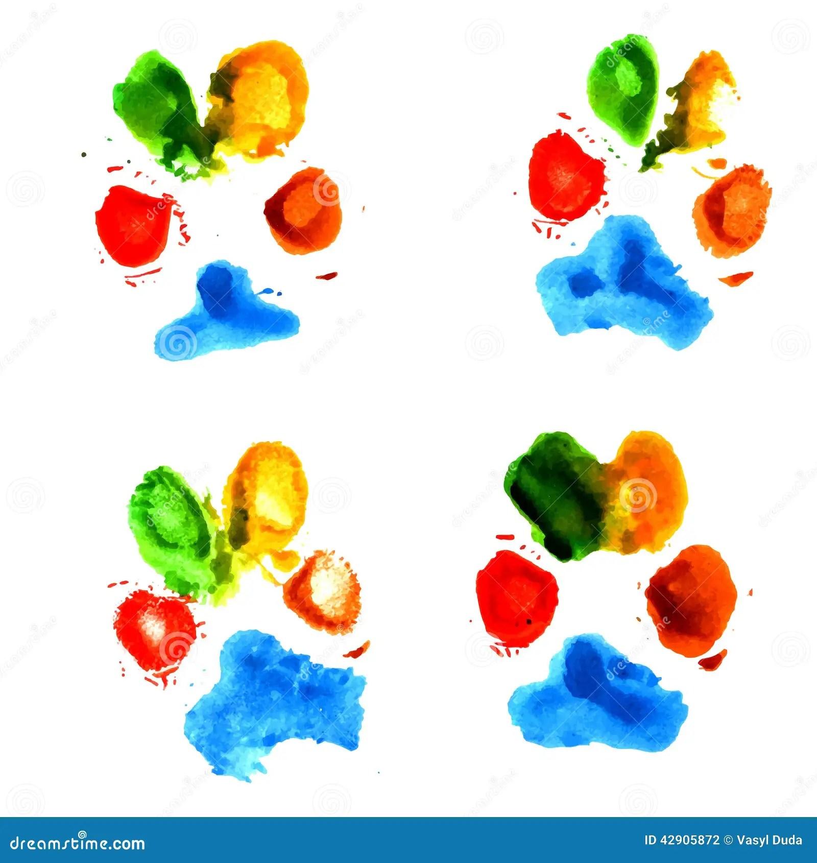 Watercolor Animal Paw Prints Stock Vector Image 42905872