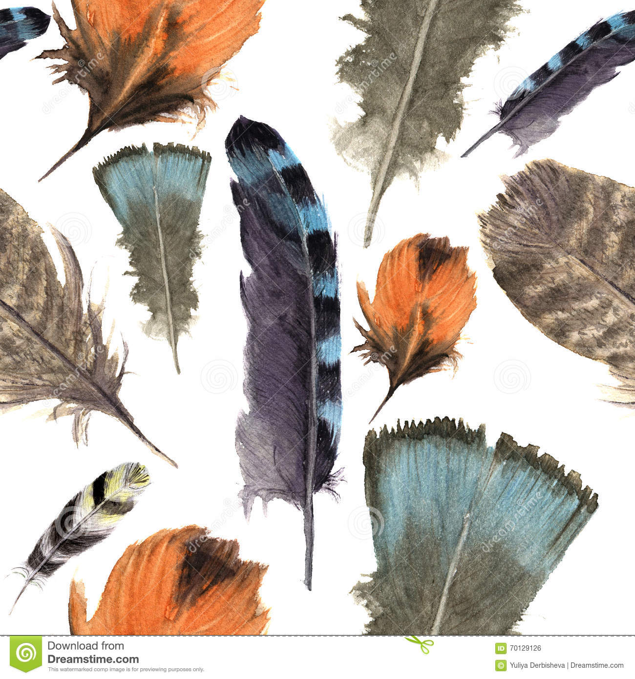 Watercolor Birds Feathers Boho Pattern Seamless Texture