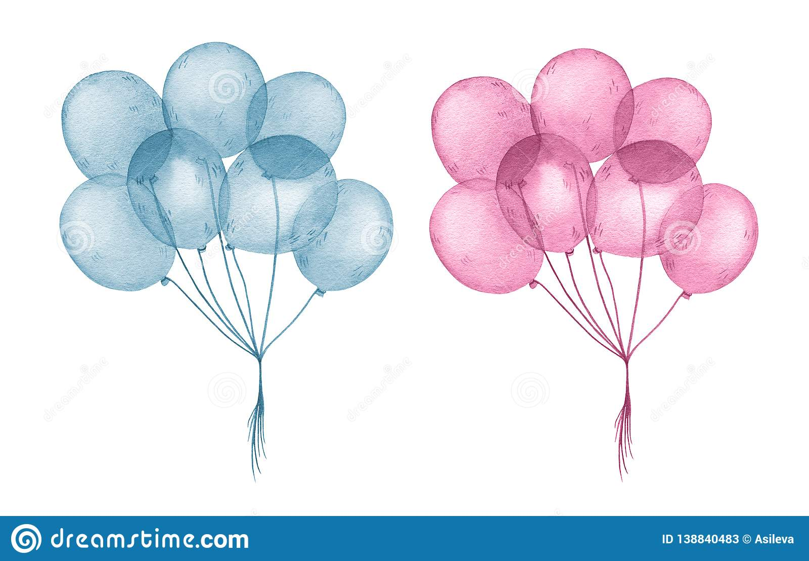 Watercolor Blue And Pink Balloons For Happy Birthday Stock