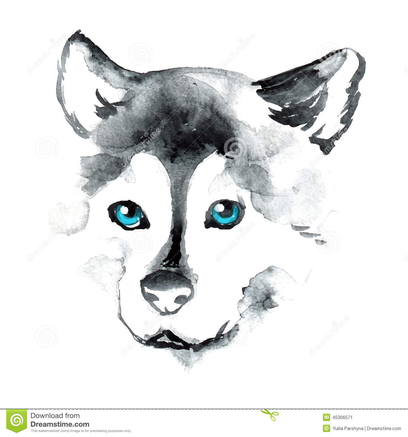 Watercolor Dog With Blue Eyes