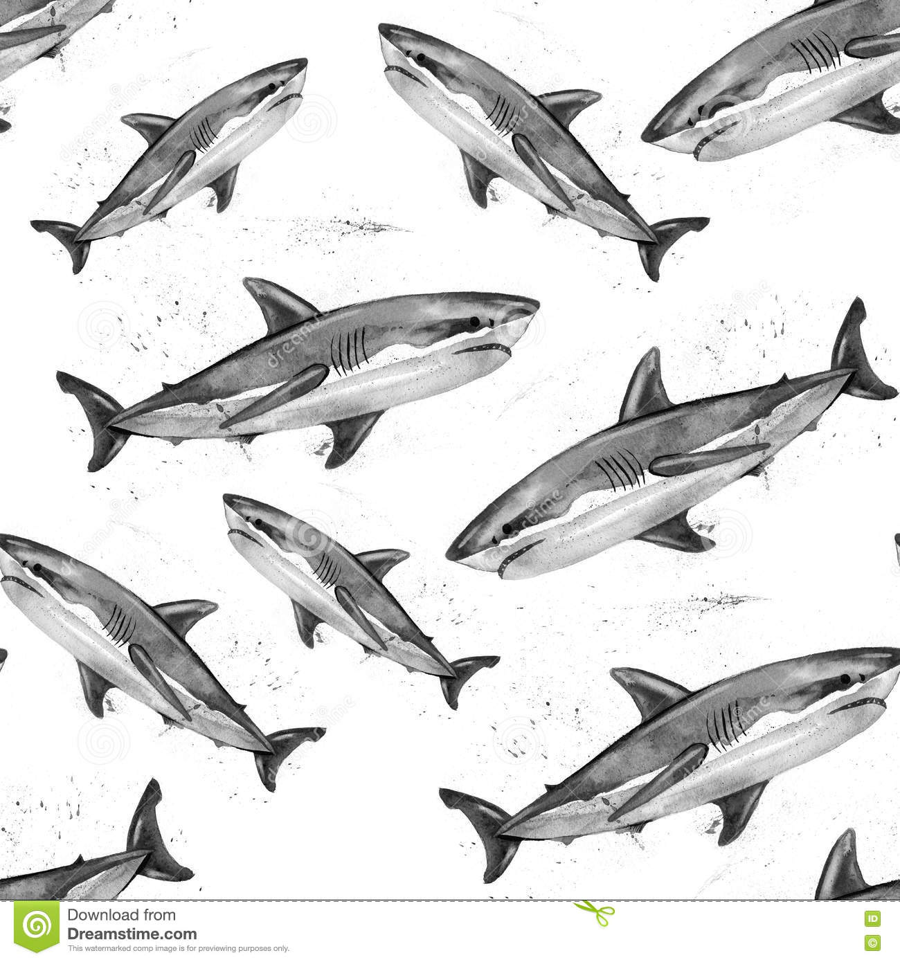 Watercolor Great White Shark Pattern Stock Illustration