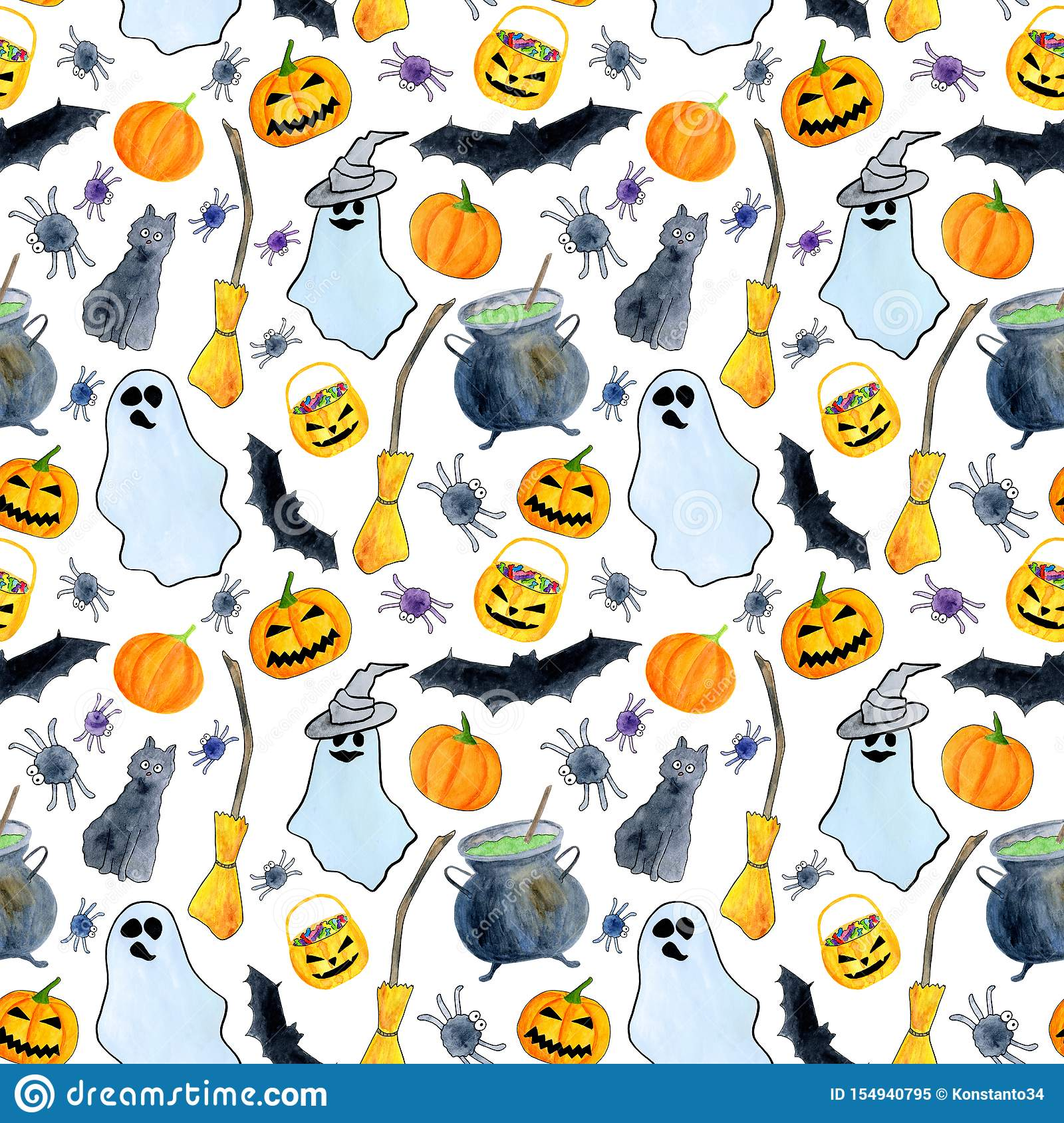 Watercolor Halloween Seamless Pattern Hand Painted Autumn