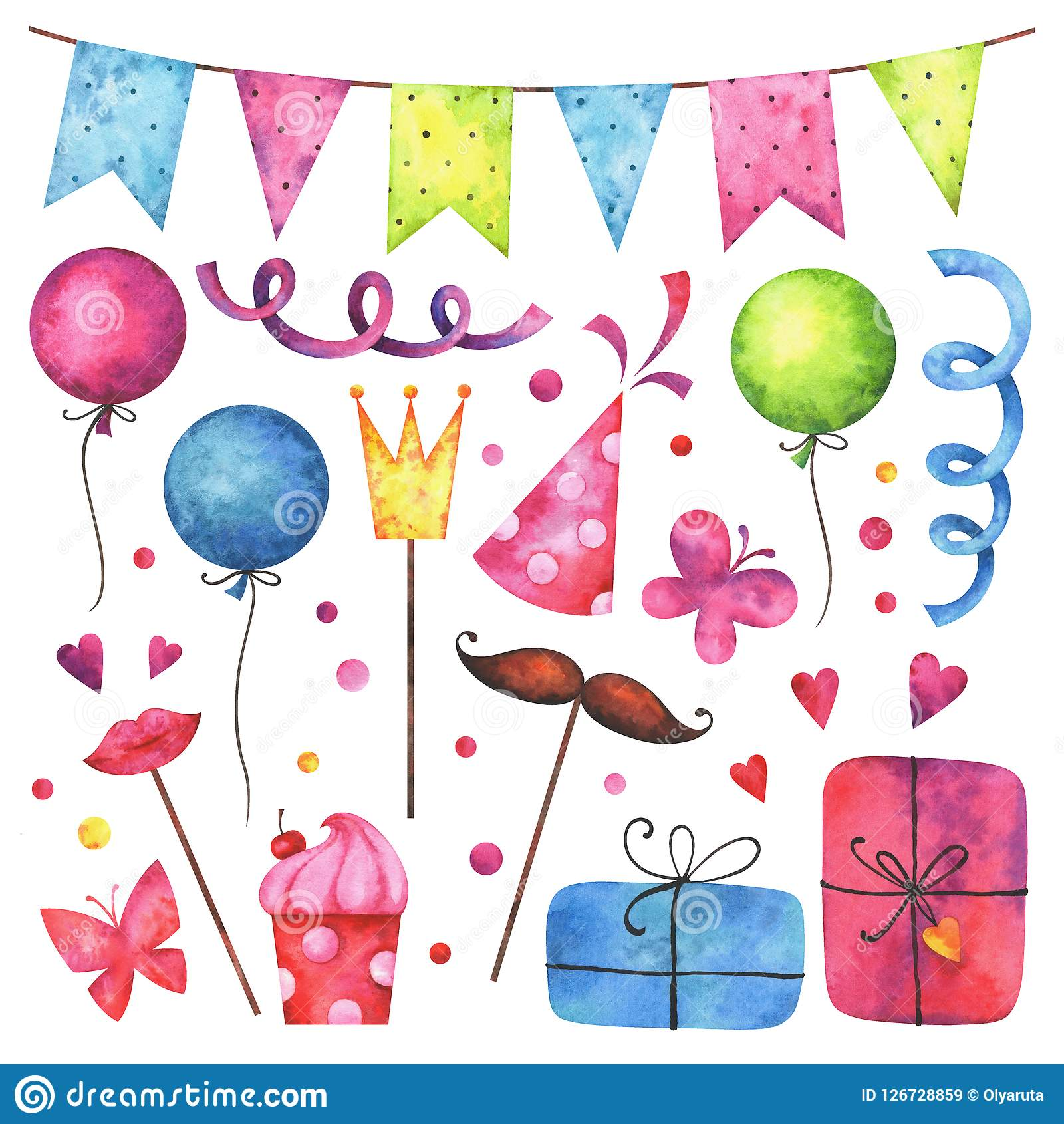 Watercolor Happy Birthday Party Clip Art Set Stock Illustration Illustration Of Holiday Mustache 126728859