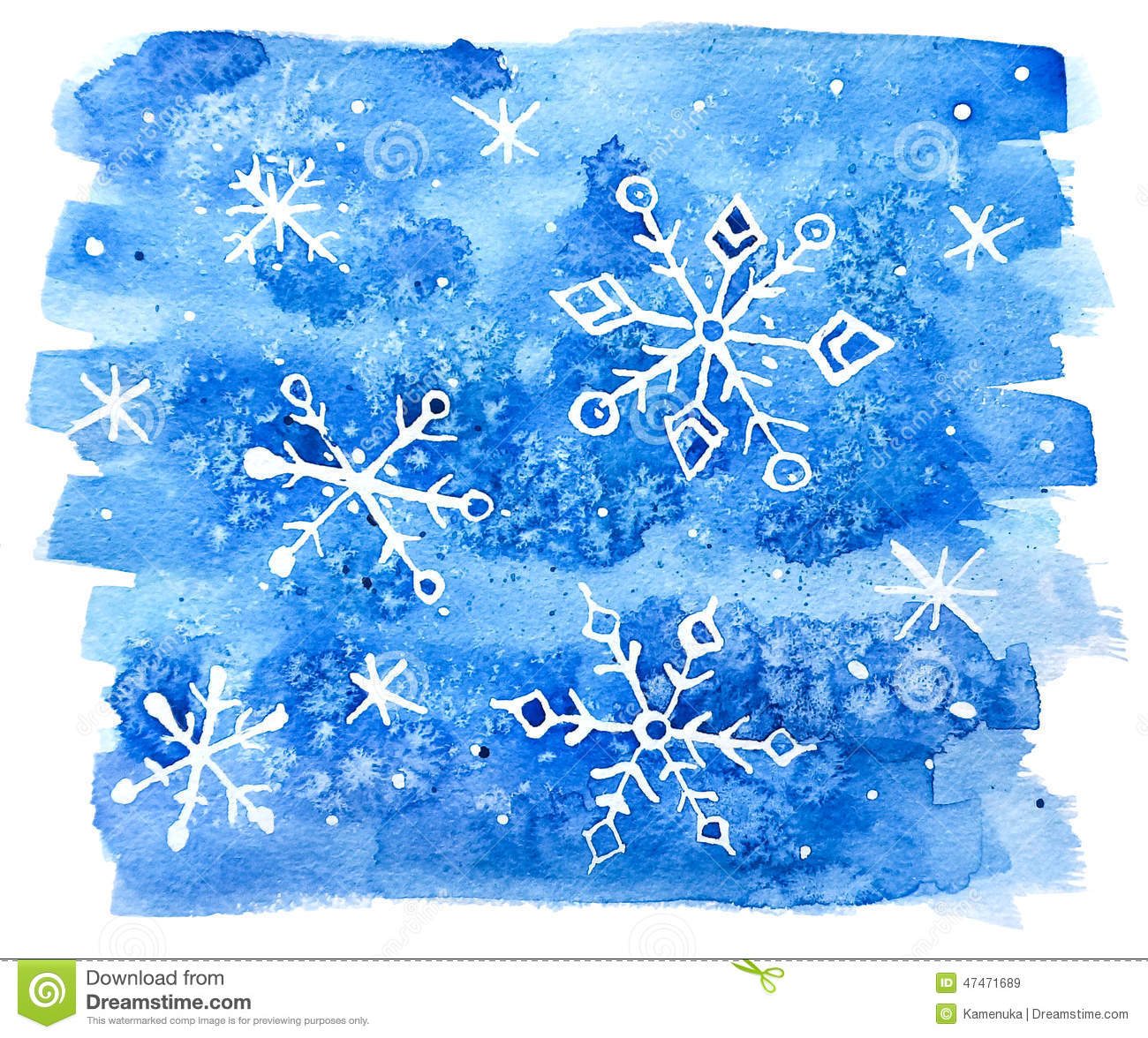 Watercolor Snowflakes Abstract Background Stock
