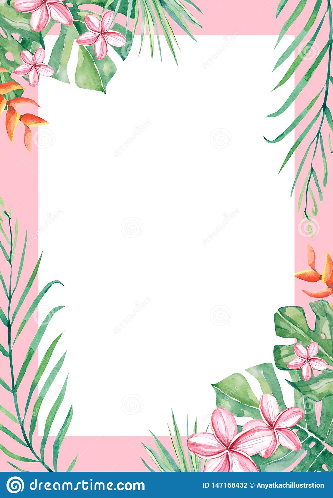 https www dreamstime com watercolor tropical flower leaf arrangement border frame wedding anniversary birthday invitations cards image147168432