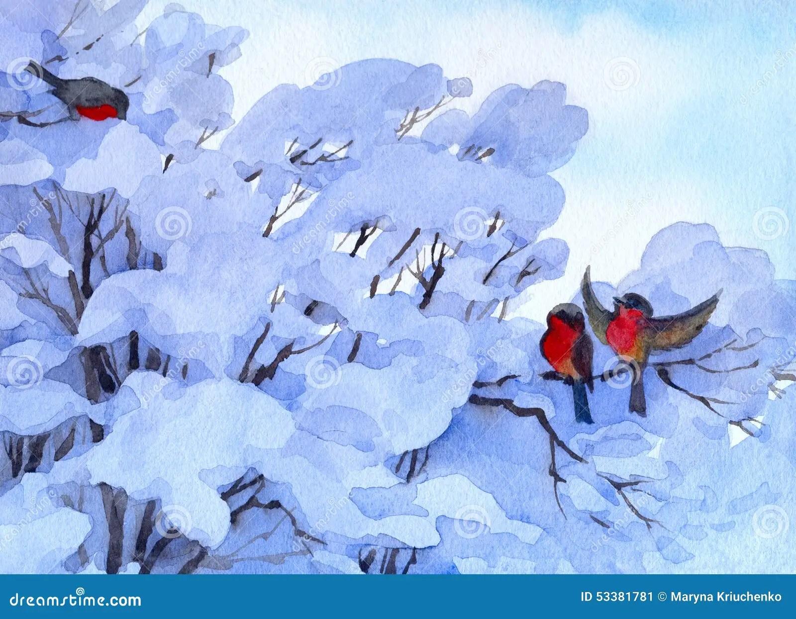 Watercolor Winter Scene Bullfinch Sitting On A Snow