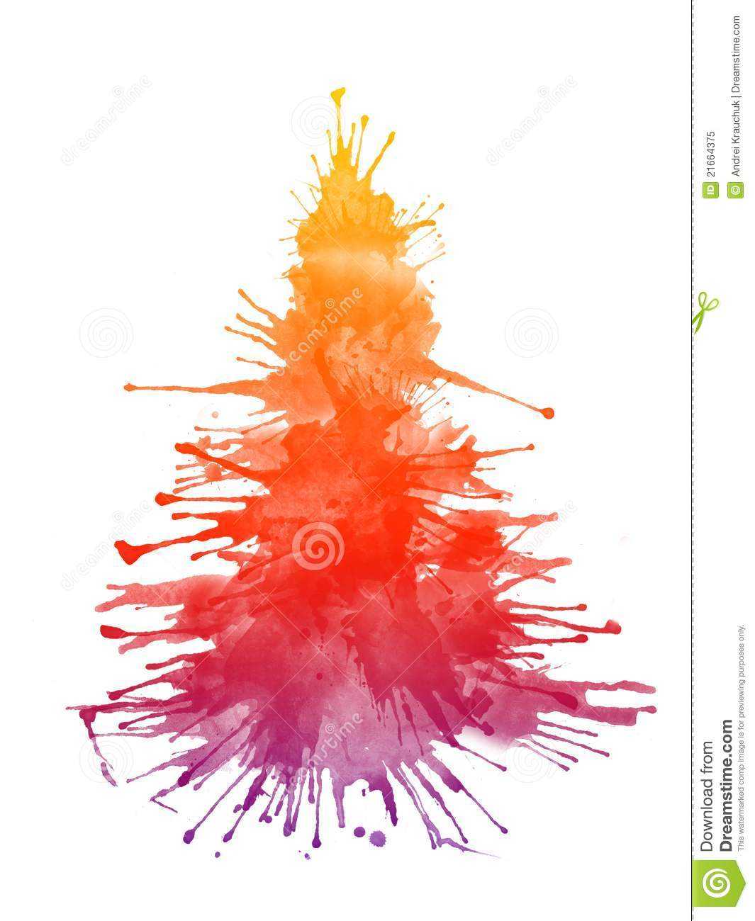Watercolor Xmas Tree Stock Illustration Image Of Ornament