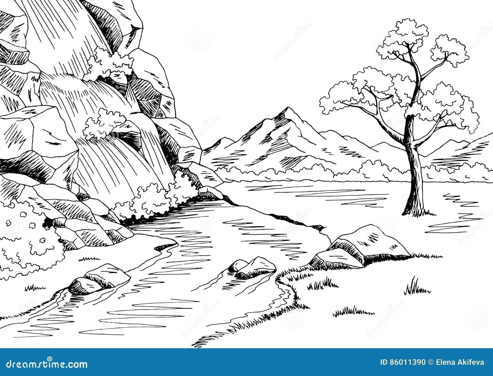 Waterfall Graphic Black White Landscape Sketch