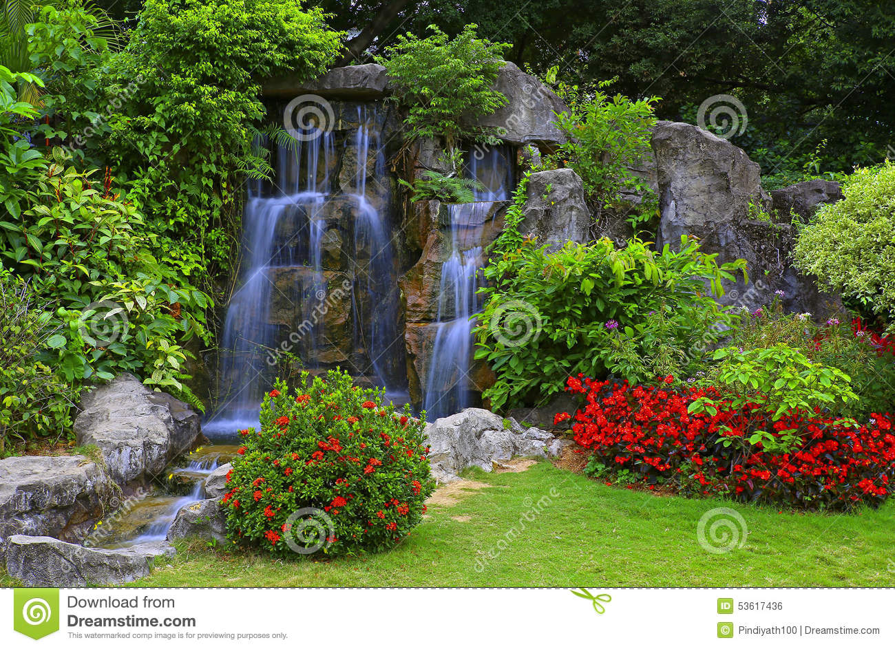 Waterfall In Tropical Garden Stock Photo Image 53617436