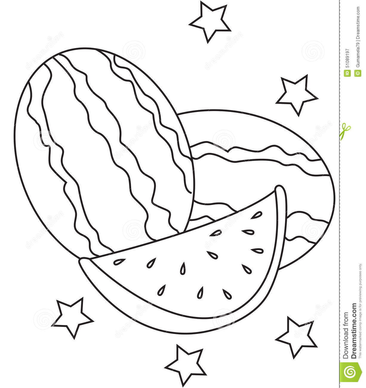 Watermelon Coloring Page Stock Illustration