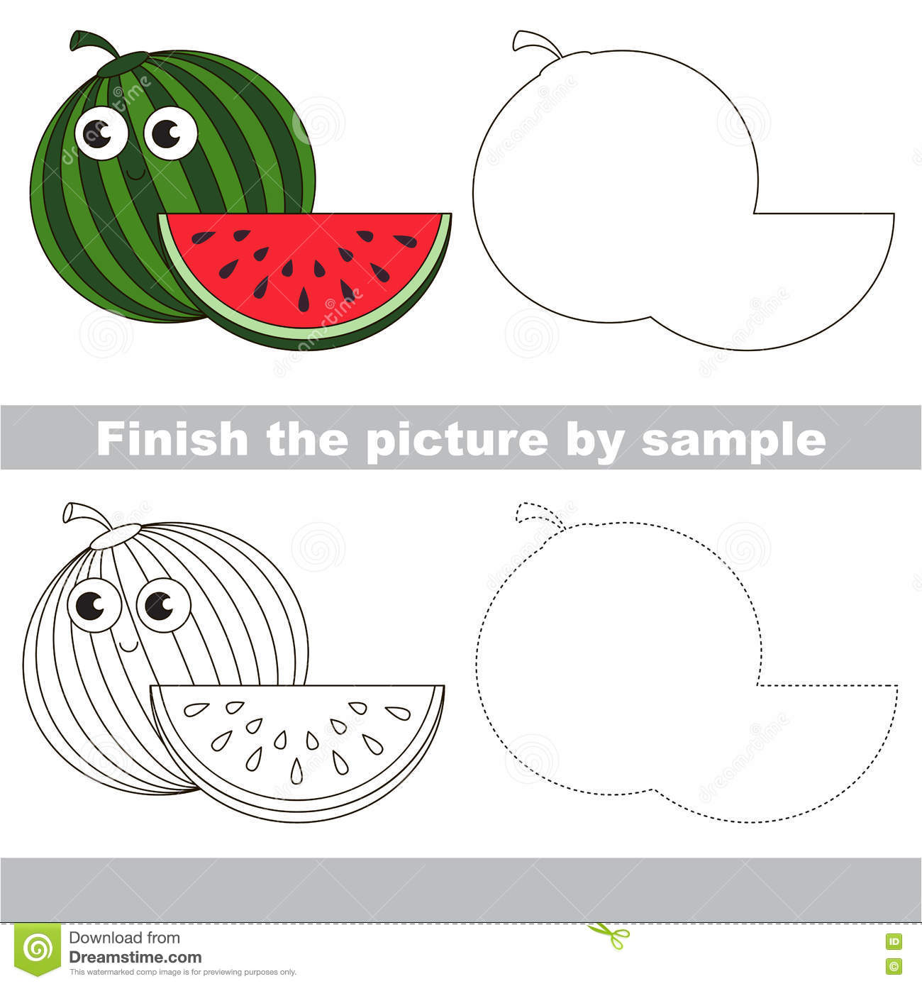 Watermelon Drawing Worksheet Stock Vector