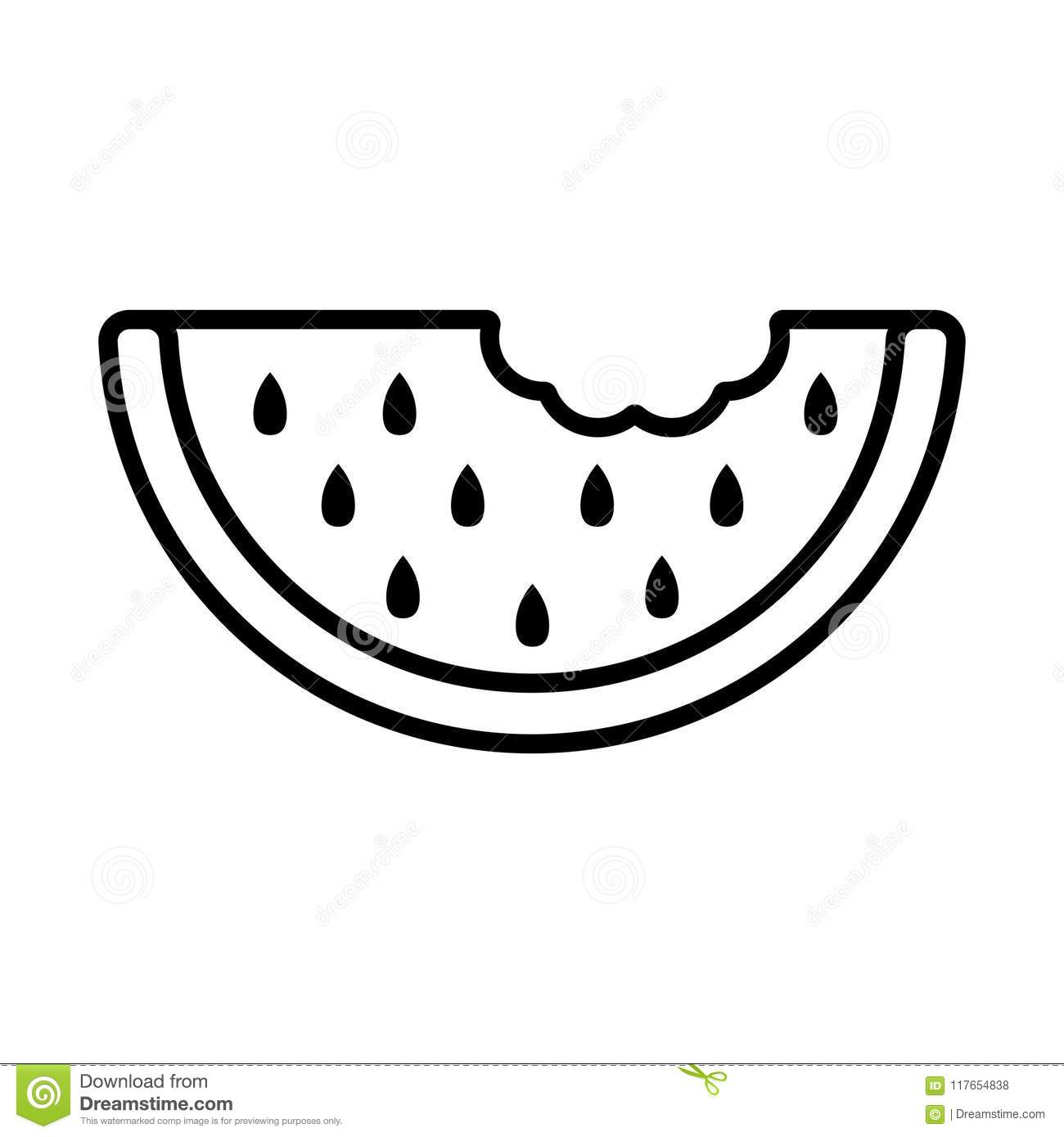 Watermelon Slice With Stones Flat Outline Vector Icon