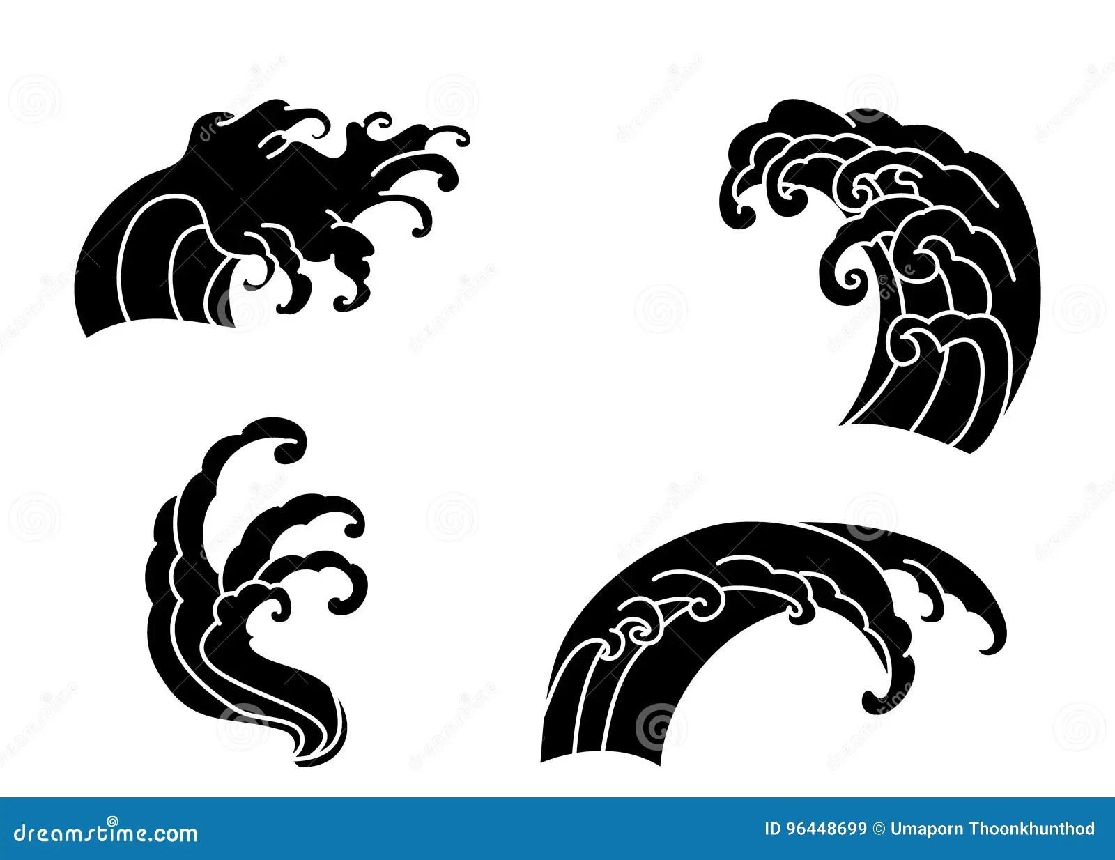 Wave Tattoo Design Isolate Vector Stock Vector