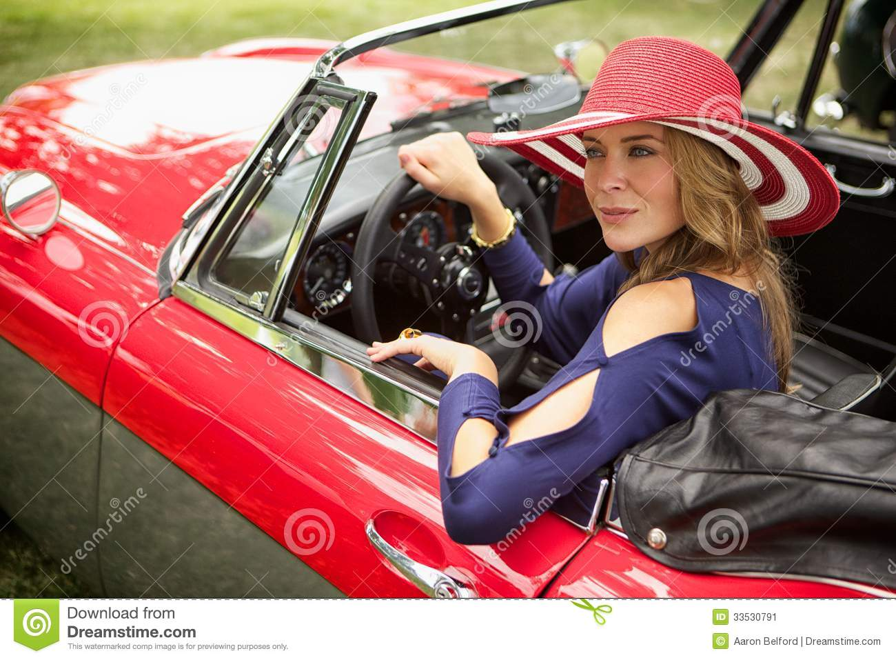 Wealthy Lady Looking Out Her Classic Red European Sports