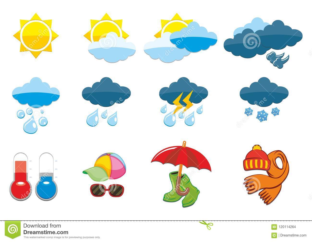 Weather Icon Set Stock Vector Illustration Of Glasses