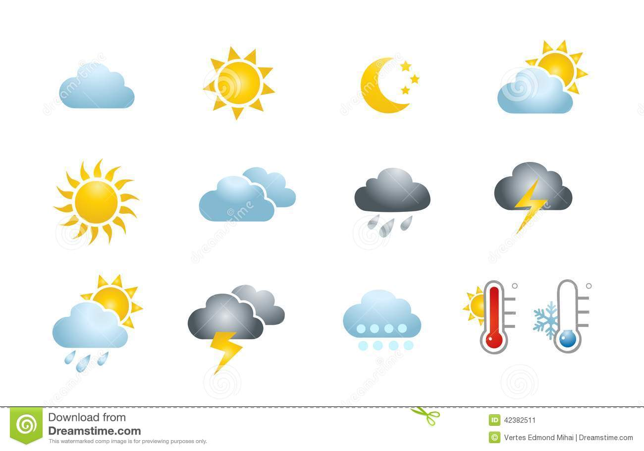 Weather Icons Stock Vector Illustration Of Cold Cloudy