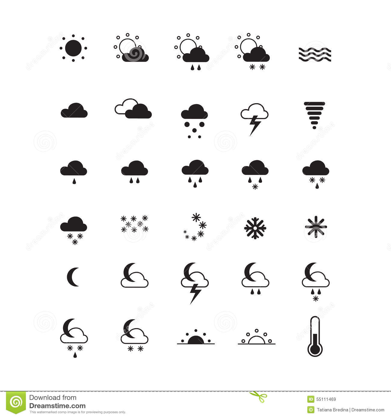 Weather Icons On White Set Of Symbols Stock Vector