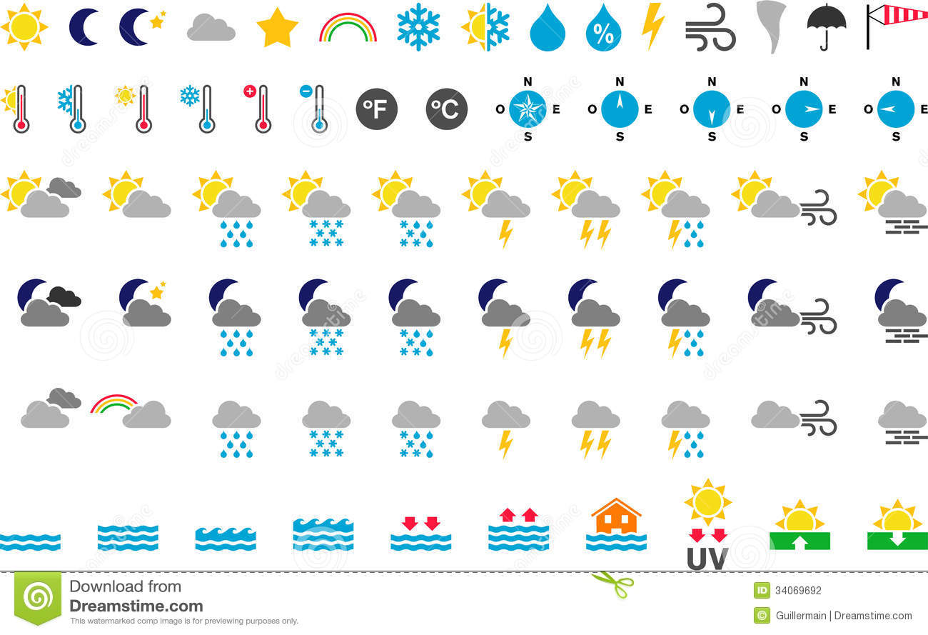Weather Symbols Stock Vector Illustration Of Overcast