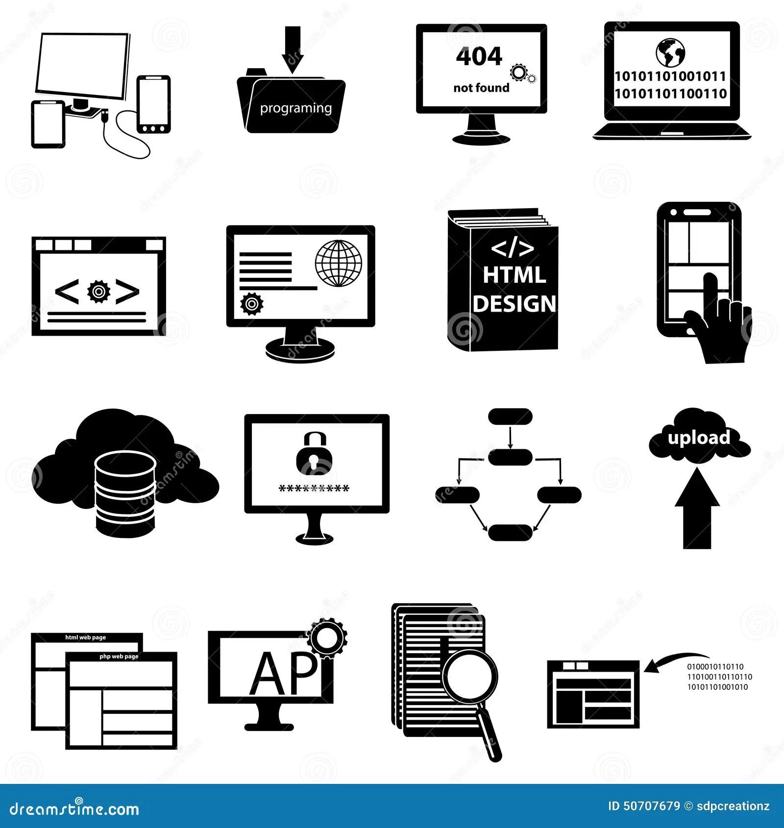 Web Development And Programming Icons Set Stock Vector
