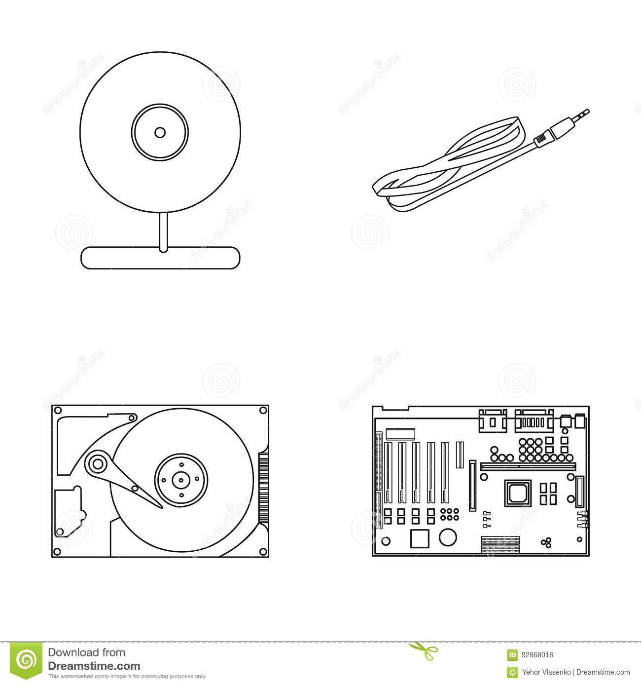 Personal Computer Parts Icons Set Vector Illustration