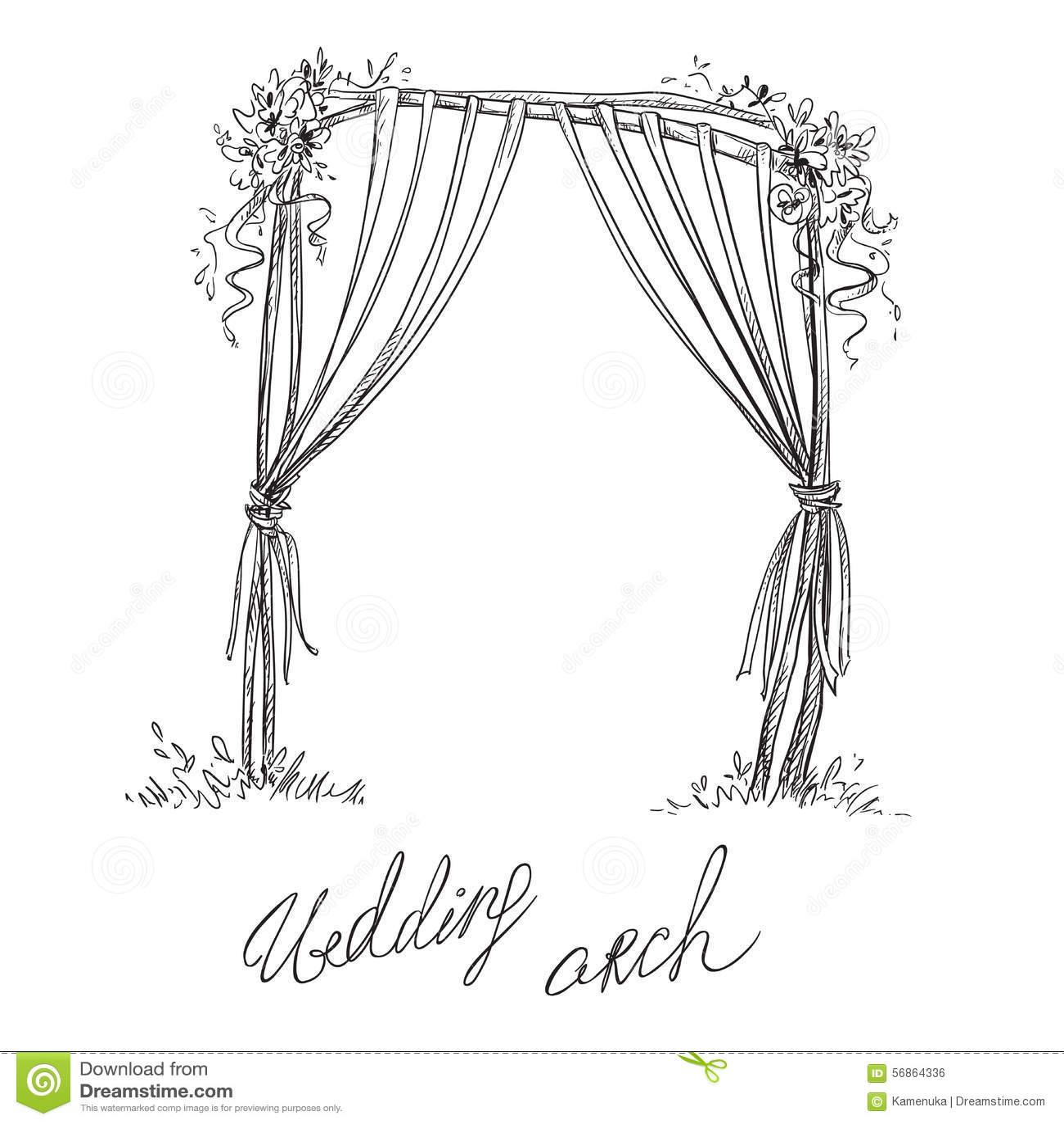 Wedding Arch Decoration Vector Sketch Stock Vector
