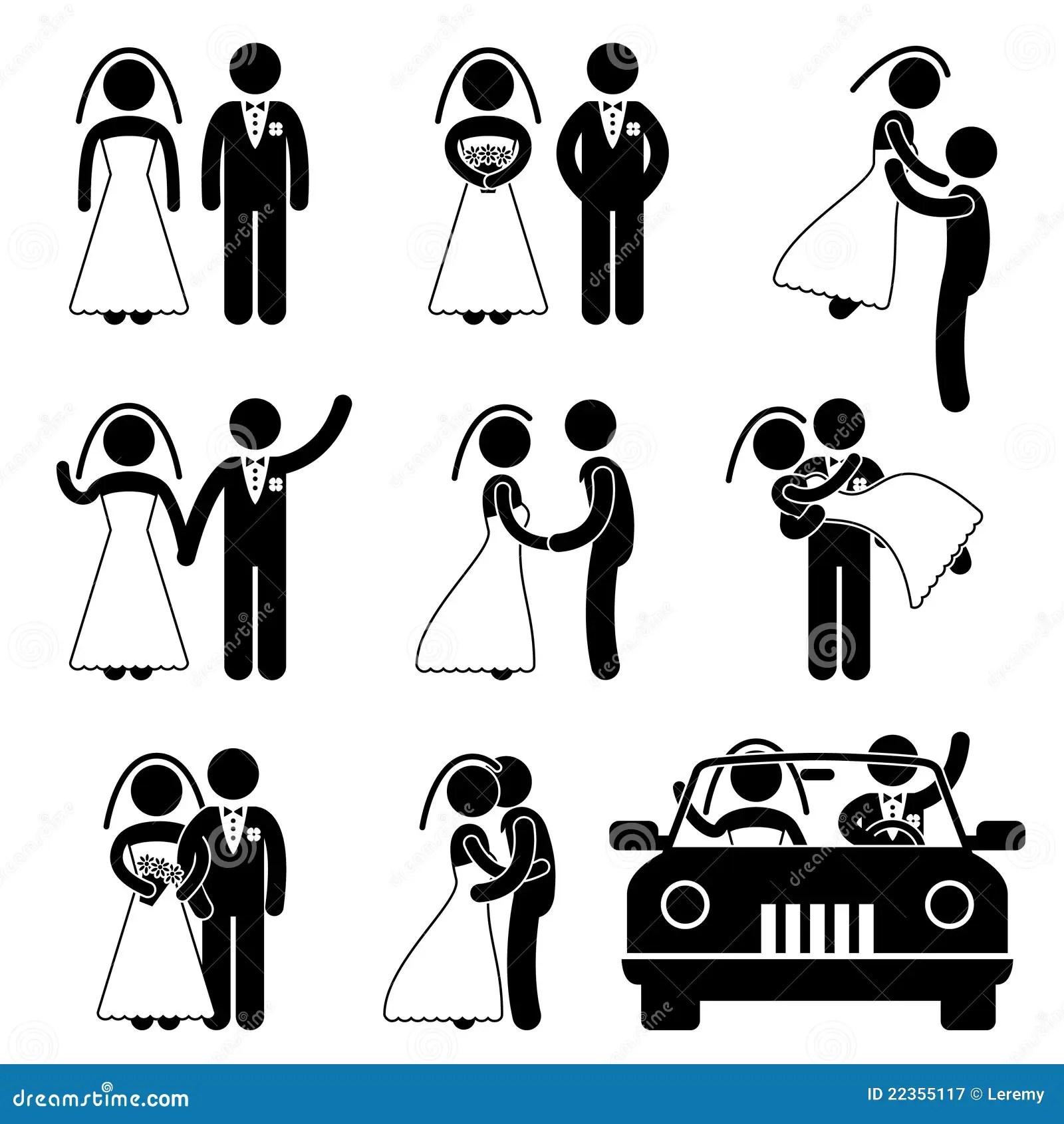 Wedding Bride Bridegroom Marriage Pictogram Royalty Free
