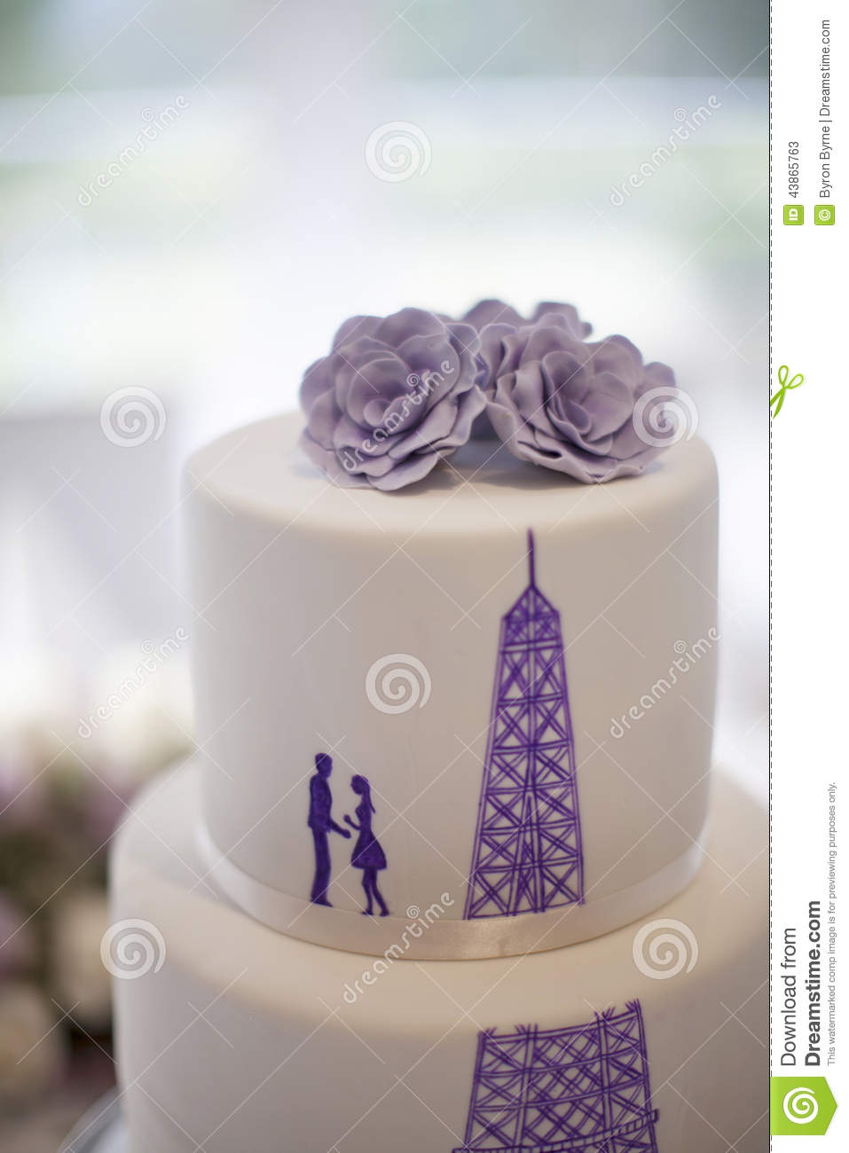 Wedding Cake Close Up With Silhouette Of A Couple And The