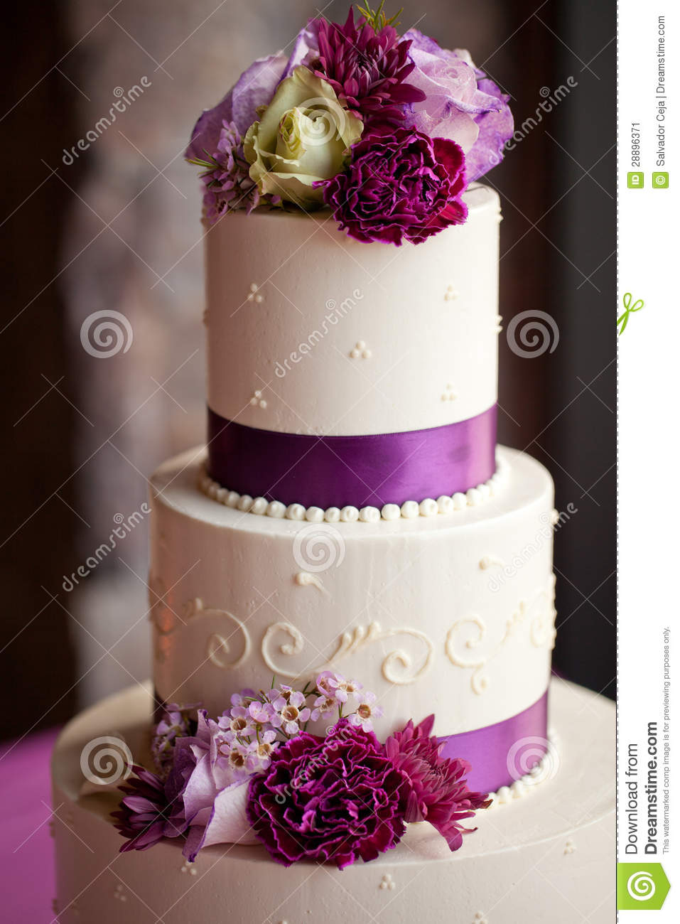 Wedding Cake With Flowers Stock Image Image Of Bride
