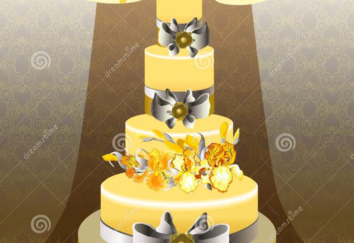 Wedding Cake With Yellow Iris Flower Design Stock Vector