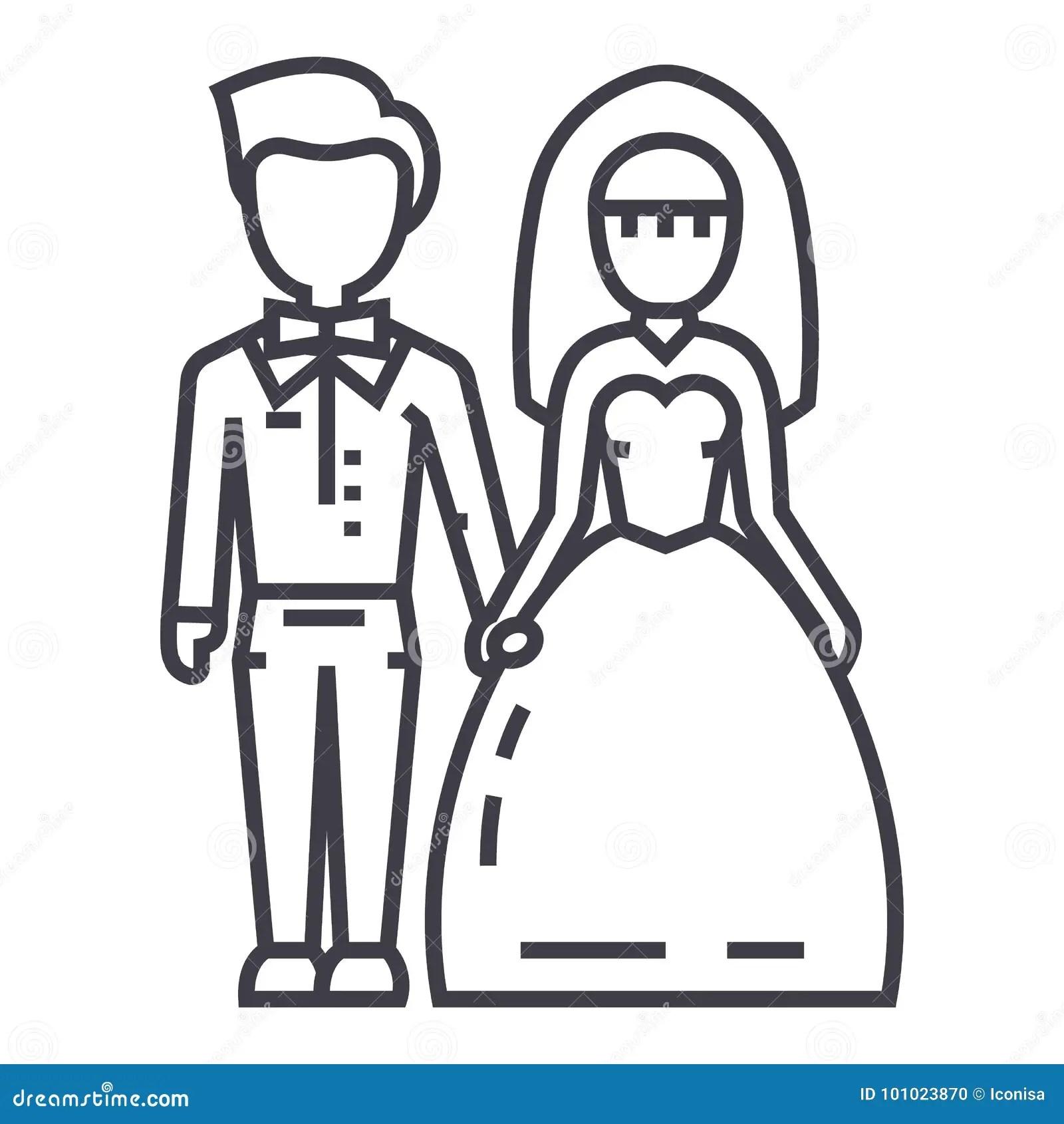 Bride And Groom Silhouette Vector Icon Cartoon Vector