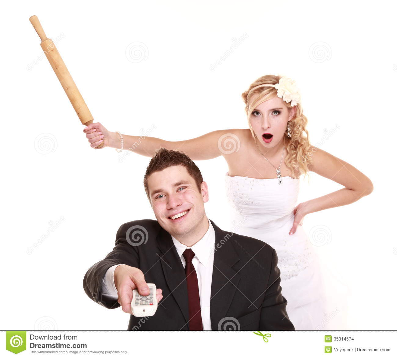 Wedding Couple In Fight Conflict Bad Relationships Stock