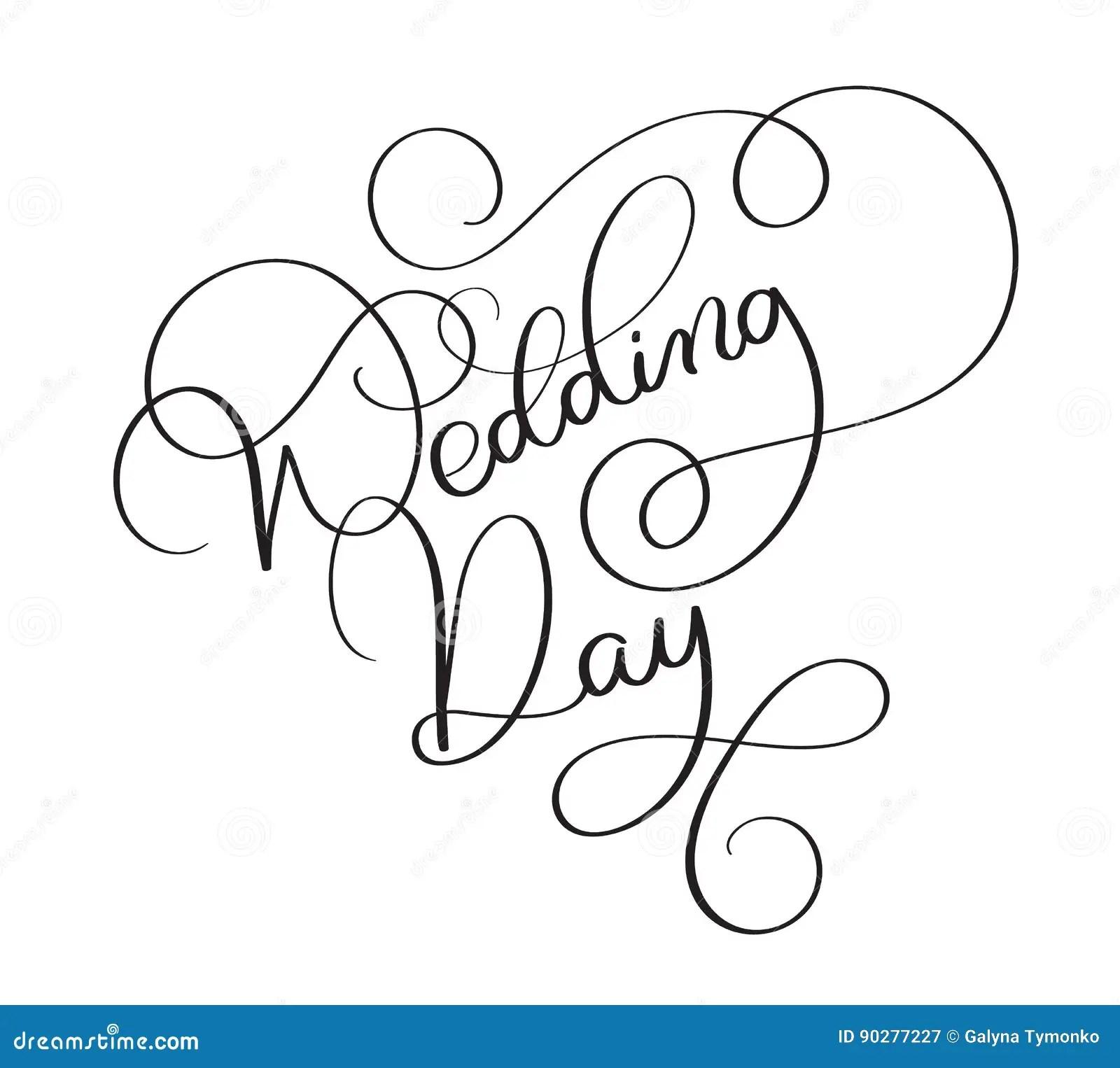 Wedding Day Text On White Background Hand Drawn Vintage