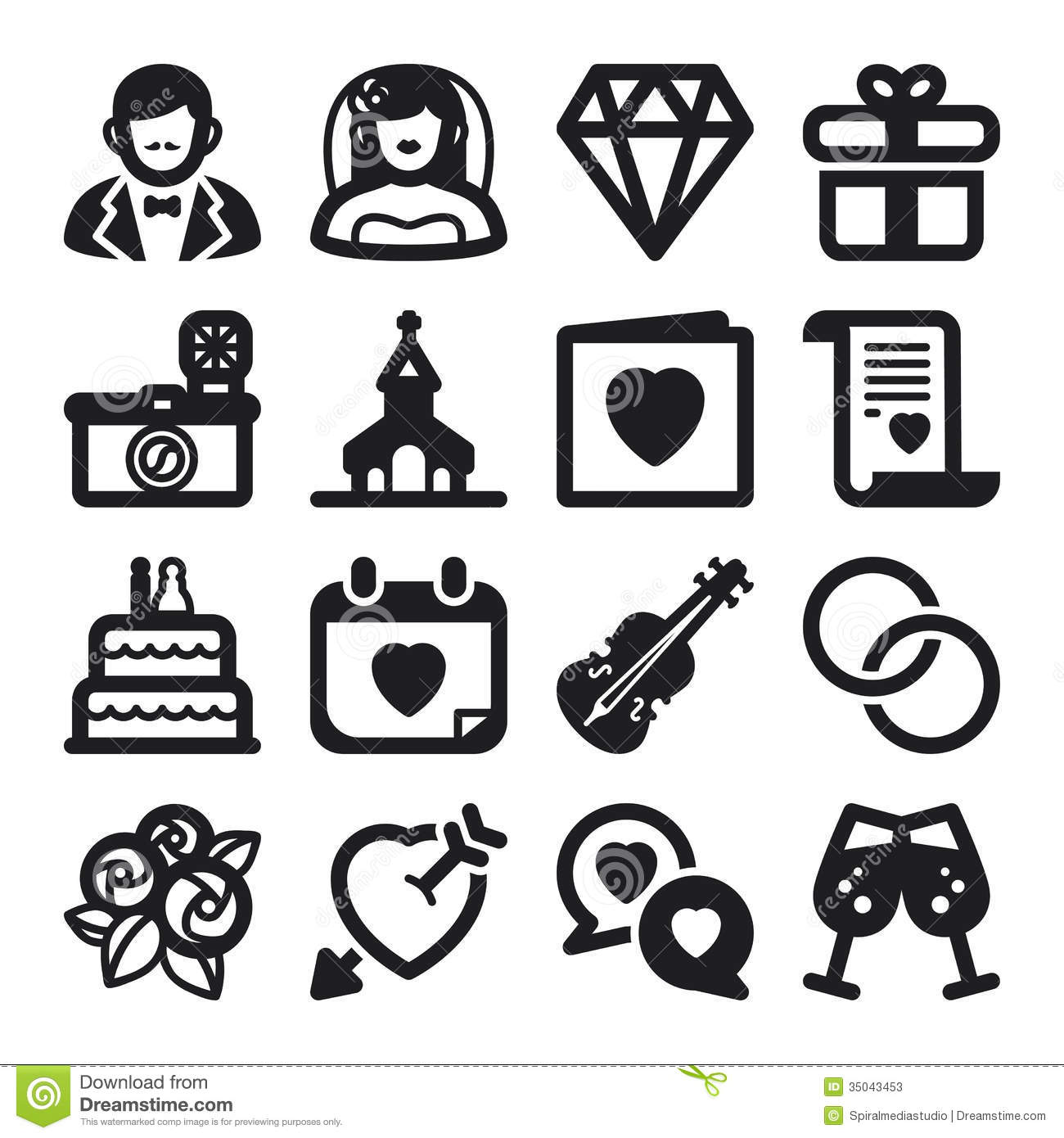 Wedding Flat Icons Black Stock Photos