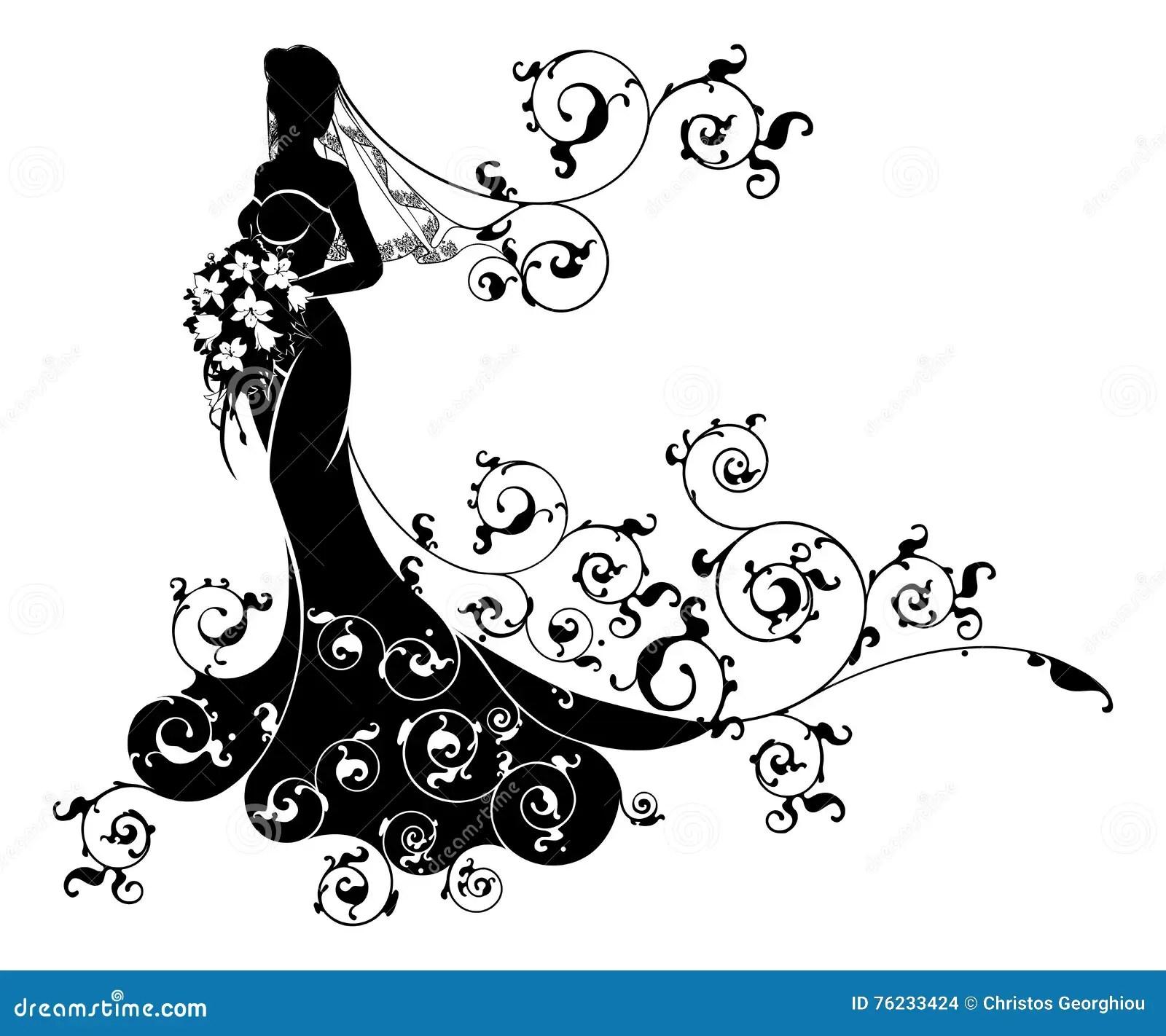 Wedding Flowers Bride Silhouette Pattern Stock Vector
