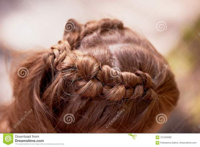 wedding hairstyles for thick red hair.hair, close stock