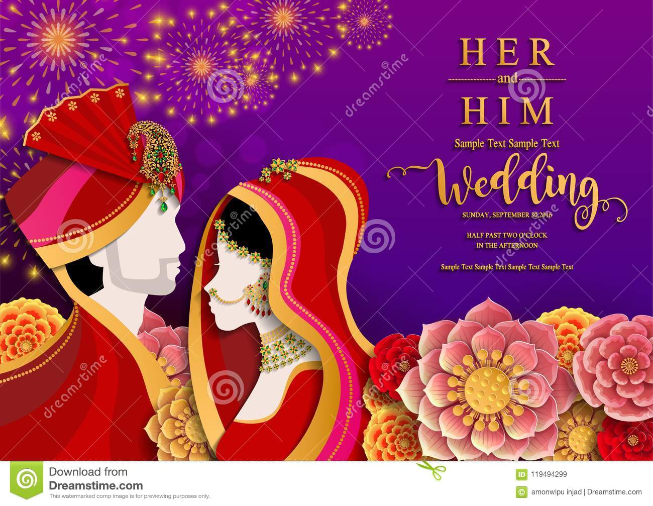 https www dreamstime com wedding invitation card templates indian man women traditional clothes paper color background image119494299