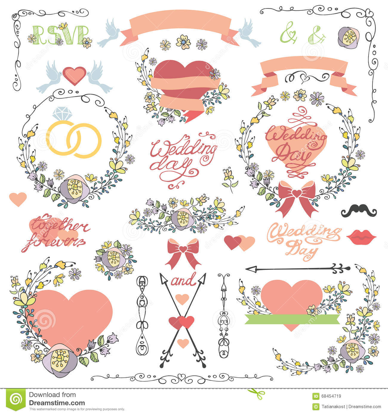 wedding mustache and lips template