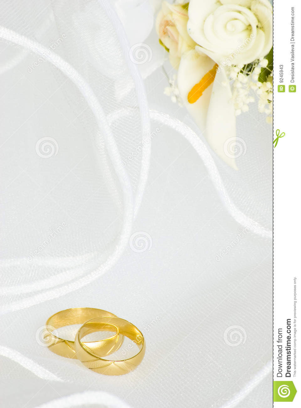 Wedding Invitation Rings And Flowers Over Veil Stock