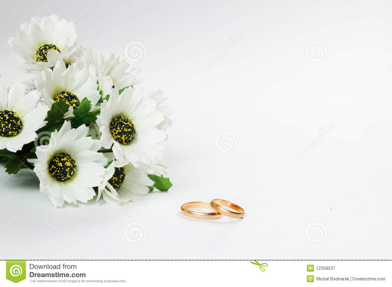 Wedding Rings And Flowers Stock Image. Image Of Marriage